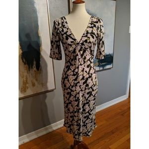 DVF Silk Dress with Deep V Neckline